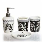 Set de baie, ceramica, cu 4 piese si design floral
