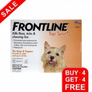 Frontline Top Spot Small Dogs 0-22 Lbs (Orange) 4 + 4 Free