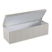 Dekoria Skrzynia tapicerowana, szaro białe pasy (1,5cm), 120 × 40 × 40 cm, Quadro