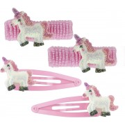 Set met haarelastiekjes en clipjes unicorn