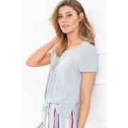 Womens Mia Lucce Pintucked Tee - Grey Marl T-Shirt Sleepwear Nightwear