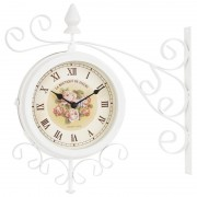 Veioza din lemn si metal ANTIQUE BEIGE/WHITE D25X46cm