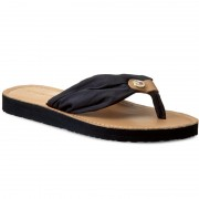 Джапанки TOMMY HILFIGER - Leather Footbed Beach Sandal FW0FW00475 Midnight 403