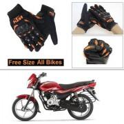 AutoStark Gloves KTM Bike Riding Gloves Orange and Black Riding Gloves Free Size For Bajaj Platina 100 DTS-i