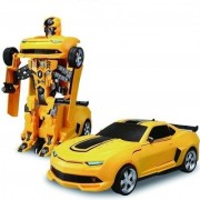 New Pinch Battery Operated Converting Car to Robot Robot to Car Automatically Transformer Toy Light and Sound (yellow)