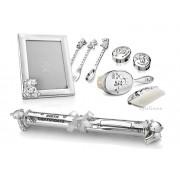 Cadou argintat pentru bebelusi la botez si mot
