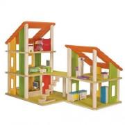 Plan Toys Drewniany domek dla lalek z mebelkami - , domek wielowariantowy