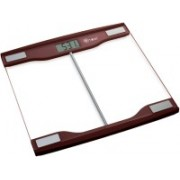 ATOM AL710 Simple And Fashionable Pattern With 6mm Tempared Glass Body Fat/Hydration Monitor Weighing Scale(Brown)