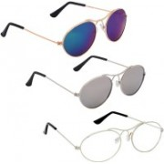 Phenomenal Oval Sunglasses(Blue, Silver, Clear)