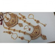 Beautiful Bridal Dark-Red-Color Choker Rani Haar Gold Plated Zerconic Stones Necklace Set With Nath Earrings Tika