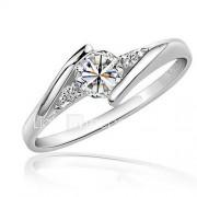 Dames Ring imitatie Diamond Liefde Elegant Kostuum juwelen Zirkonia Kubieke Zirkonia Platina Verguld Ronde vorm Sieraden Voor Bruiloft