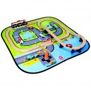 Circuit din lemn cu trenulet si masinute Giant City pentru copii