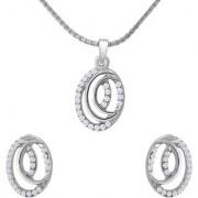 Mahi Crystal Dual Oval Rhodium Plated Pendant Set for Women NL1102715R