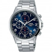 Lorus Montre-bracelet Chronographe à cadran bleu Lorus RM367EX-9 Quartz/inox