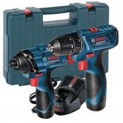 Комплект акумулаторни машини GSR 120 Li + GDR 120 Li - 12V/1.5Ah Li-Ion + зарядно + куфар, 06019F0002, BOSCH