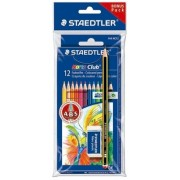 Creioane colorate Noris 12 culori si creion cu radiera Staedtler