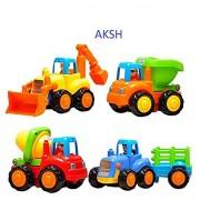 AKSH Unbreakable Automobile Car JCB Truck Toy Set for Children Kids Toys Construction Team Set of 4 (Unbreakable Toys)