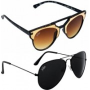 Aiken Aviator, Sports Sunglasses(Black, Brown)