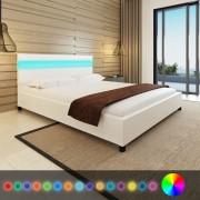 Sonata Рамка за легло с LED, бяла, изкуствена кожа, 160x200 cм