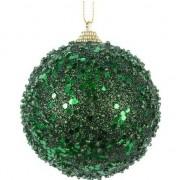 Decoris 1x Donkergroene glitter/glimmer kerstballen 8 cm kunststof - Kerstbal