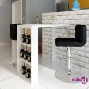 vidaXL Barski stol od MDF-a sa stalkom za vino visoki sjaj bijeli