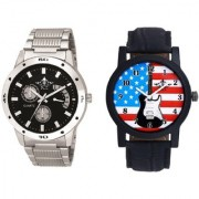 Star USA Guitar With Officially Black Dial Metal Belt SCK Combo Gallery Wrist Watch
