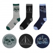 Set 3 Perechi Sosete Ciorapi Harry Potter Deathly Hallows