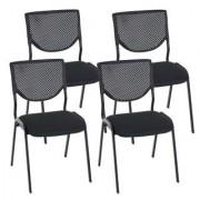 Ofisillas Lote 4 sillas de confidente NAPOLI, estructura metálica, color negro y patas negras