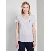 TOM TAILOR DENIM Basic T-shirt met print op de borst, Dames, Off White, L