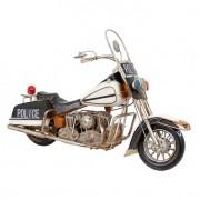 Enfeite Moto Police Tanque Metal Branco Oldway