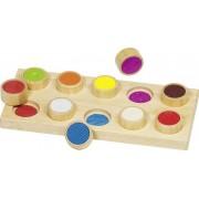 Poczuj pary, drewniane memo dotykowe cylindry - 10 wzorów, kolory, GOKI