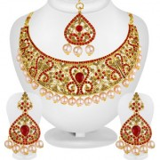Spargz Indian Wedding Jewellery Gold Plated Red AD Stone Pearl Bridal Necklace Set With Maang Tikka For Women AINS260