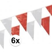Geen 6x Vlaggenlijnen rood/wit 10 meter