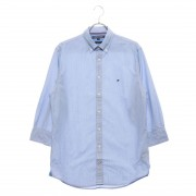 【SALE 30%OFF】トミーヒルフィガー TOMMY HILFIGER ストライプドビーコットンシャツ (ブルー)