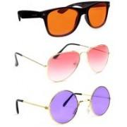 Elligator Aviator, Wayfarer, Round Sunglasses(Orange, Pink, Violet)