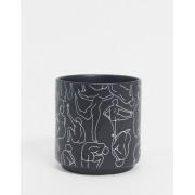 Monki Anny lady print pot in black