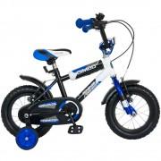 Bicicleta copii 12 inch Bimbo, Bonanza, G1201B/1, cadru otel, roti ajutatoare, varsta 2-4 ani, albastru/alb
