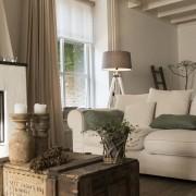QAZQA Floor Lamp Tripod White with Shade 45cm Linen Brown