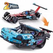 Decool 3367 647Pcs 2 IN 1 King Steerer Drag Racer carBuilding Bricks toy set With V8 Engine
