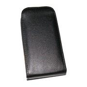 Кожен калъф Flip за Samsung S5570 Galaxy Mini Черен