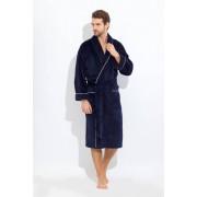 PECHE MONNAIE Классический темно-синий махровый халат со внешней велюровой стороной PECHE MONNAIE 1588 синий