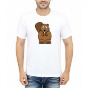 DOUBLE F ROUND NECK HALF SLEEVE WHITE COLOR SCARED BROWNY BEAR PRINTED T-SHIRTS