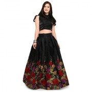New Designer Printed Black Color Banglory satin Semi Stitched Lehngha (BlackLehngha)
