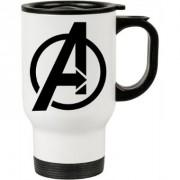 Caneca Térmica Branca Os Vingadores (Avengers) Logo 01