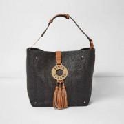 River Island Zwart met bruine oversized geweven handtas met ring Dames