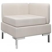 vidaXL Модулен ъглов диван с възглавница, текстил, кремав