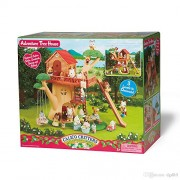 Maven Gifts: Calico Critters of Cloverleaf Corners Bundle - Hopscotch Rabbit Family Set with Adventure Tree House Set - Build Skills with Imaginative Play