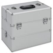 vidaXL ezüstszínű alumínium sminktáska 37 x 24 x 35 cm