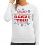 Bellatio Decorations Foute kersttrui / sweater Lelijke kerst trui grijs voor dames