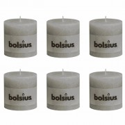 Bolsius Rustic Pillar Candles 6 pcs 100x100 mm Light Grey